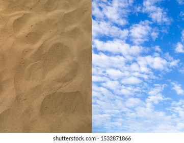 TCloseup sand backgrounds ,Blue sky with clouds Top view from the airplane window, Natural cloudscape for copy space,exture, sand, sky, central,Cloud - Sky, Cloudscape, Overcast, Sun, Cumulus Cloud