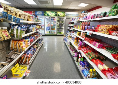 TE ANAU, NEW ZEALAND - AUGUST 31, 2016: A row of chocolate sweets on supermarket shelf in New Zealand.