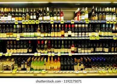 Te Anua, New Zealand - April 20 :There are  bottle of red and white wine from over the world for customers  buy in the supermaket on the April 20, 2018 in Te Anua New Zealan. Editorial documetar image