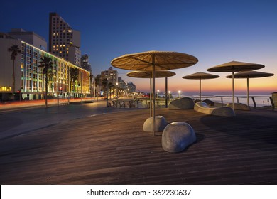 Te Aviv Promenade. Image of Tel Aviv, Israel during sunset.