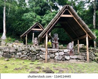 Te I'ipona / Hiva Oa / Marquesas Islands / French Polynesia 05-2018  Te I'Ipona is Polynesia's most important archeological site after Easter Island .