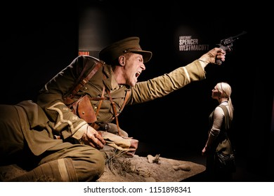 Te papa, Wellington, New Zealand - Aug 2nd 2018: Visitor to the Gallipoli: The scale of our war exhibition at Te papa in front of one of the weta workshop models