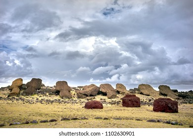Te Pito Kura Ahu, a reminder of the moai destruction and social crisis after the ecological collapse.Rapa Nui National Park,  Easter Island, Chile.  UNESCO World Heritage Site