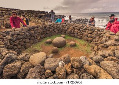 Te Pito Kura, Easter Island - July 10, 2017: Ancient site of Te Pito Kura, Easter Island