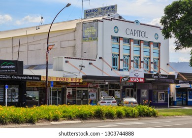 Te Puke / New Zealand - January 12 2019: The Capitol Cinema in Te Puke, NZ, One of the Country's Last Remaining Art Deco Cinema Buildings, Operating Since 1929