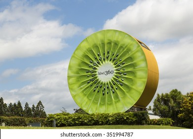 TE PUKE, NORTH ISLAND/NEW ZEALAND - JANUARY 23, 2015: Kiwi fruit 360 factory sign. The kiwifruit was first brought to New Zealand at the turn of the 20th century.