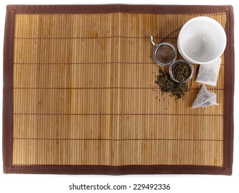Tea background with different kinds of fresh tea and teabags