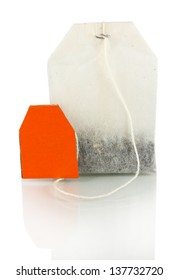 Tea bag isolated on white.