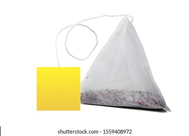 Tea bag on white background