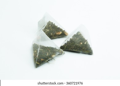 tea bags on a white background