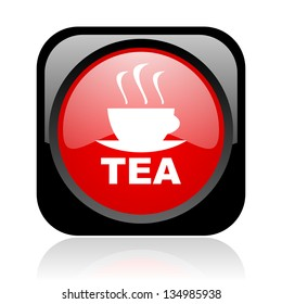 tea black and red square web glossy icon