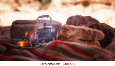 Tea brewing in Bedouin Cave, Petra, Jordan