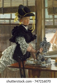 Tea, by James Tissot, 1872, French realist, impressionistic, painting, oil on canvas. Tissot often painted elegantly dressed women shown in scenes of fashionable life, which were very popular with Eng