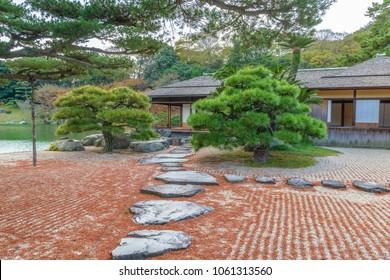 Tea ceremony house of the Ritsurin garden in Takamatsu, Japan