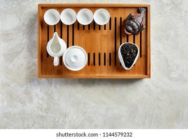 Tea ceremony. Overhead view of tea ceremony