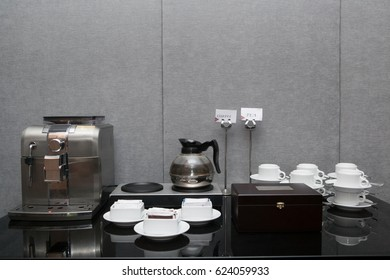 Tea coffee break food in meeting room ready to serve