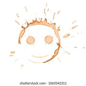 tea or coffee cup stain smile face