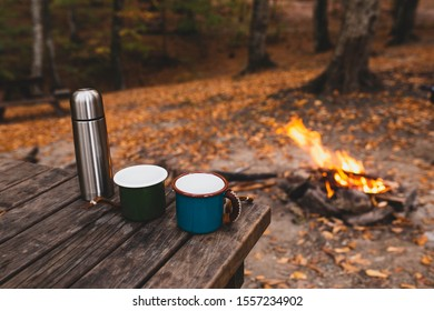 tea coffee and thermos at campsite