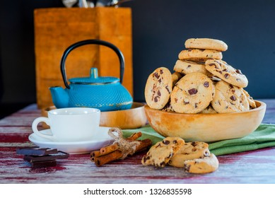 Tea and tea cookies on the table for breakfast
