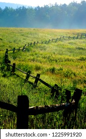 Tea Creek Meadow, rail fence, along the Highland Scenic Highway, a National Scenic Byway, Pocahontas County, West Virginia, USA