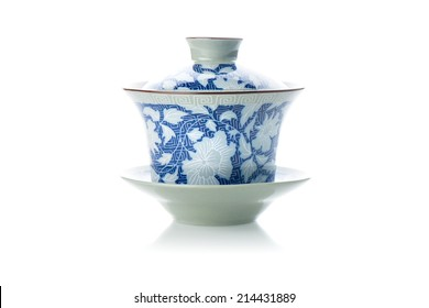 tea cup in chinese style isolated on white background