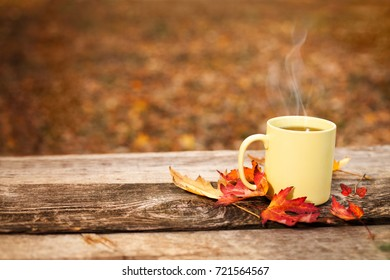 Tea cup with leaves in autumn on wooden surface in the forest