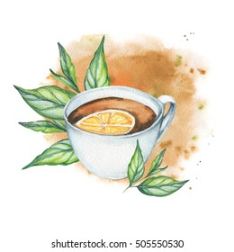 Tea cup with lemon and leaves illustration on watercolor splash