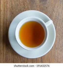 Tea cup on a wood table