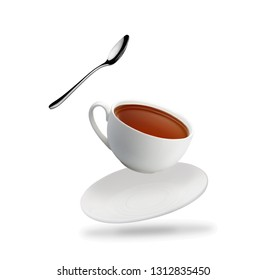 tea cup with teaspoon fly isolated on white background with shadow
