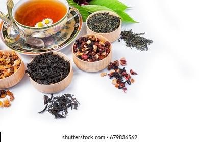 Tea, Cup of tea, various kinds of tea, tea on the table