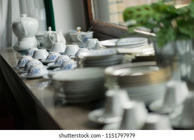 tea cups and garden party accessoires waiting for guests