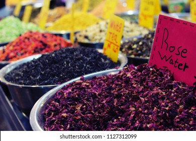 Tea of different flavours on Mahane Yehuda market, Jerusalem, Israel