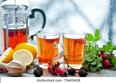 tea with dog rose, honey and lemon. Herbalife