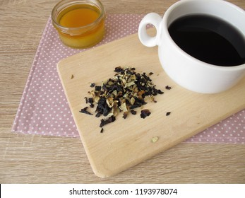 Tea from dried hollyhocks flowers with honey