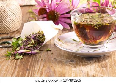Tea drink with dried Echinacea purpurea is used in folk medicine as an antiviral