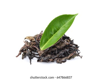 Tea dry and fresh green tea leaves isolated on white background