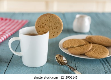 Tea with dunking biscuit