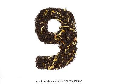 tea font numerology figure nine ninth handwork isolated