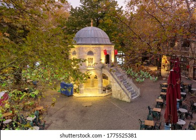 Tea gardens and silk shops in Koza Han Silk Bazaar. Koza Han is historical place from Ottoman times in Bursa, Turkey - Shutterstock ID 1775525381