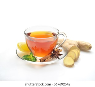 tea,  ginger, cinnamon and lemon on a white background