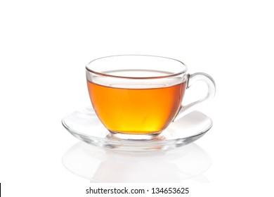 Tea in glass cup isolated on white background