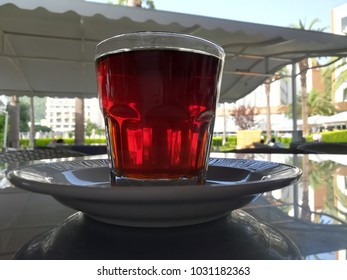 Tea in a glass on the street
