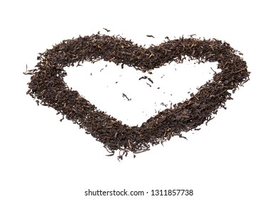 tea heart shaped white background isolated
