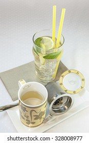 Tea hot and cold with ice and mint