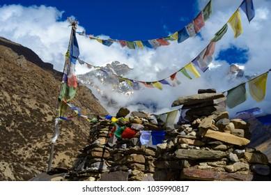 Tea house in the Himalayas, Nepal, Manang Region. December 2017