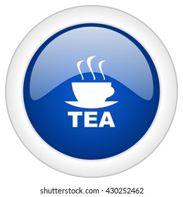 tea icon, circle blue glossy internet button, web and mobile app illustration