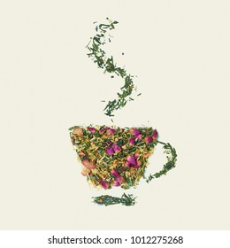 Tea leaf with flowers and fruit. The word tea on white background, top view