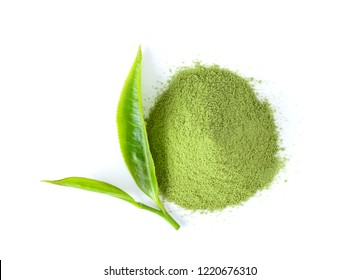 tea leaf and matcha green tea powder isolat on white background. top view