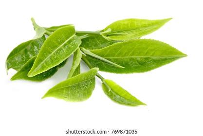 Tea leaves isolated on white