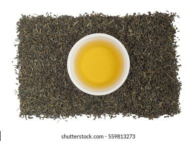 Tea leaves on a white background